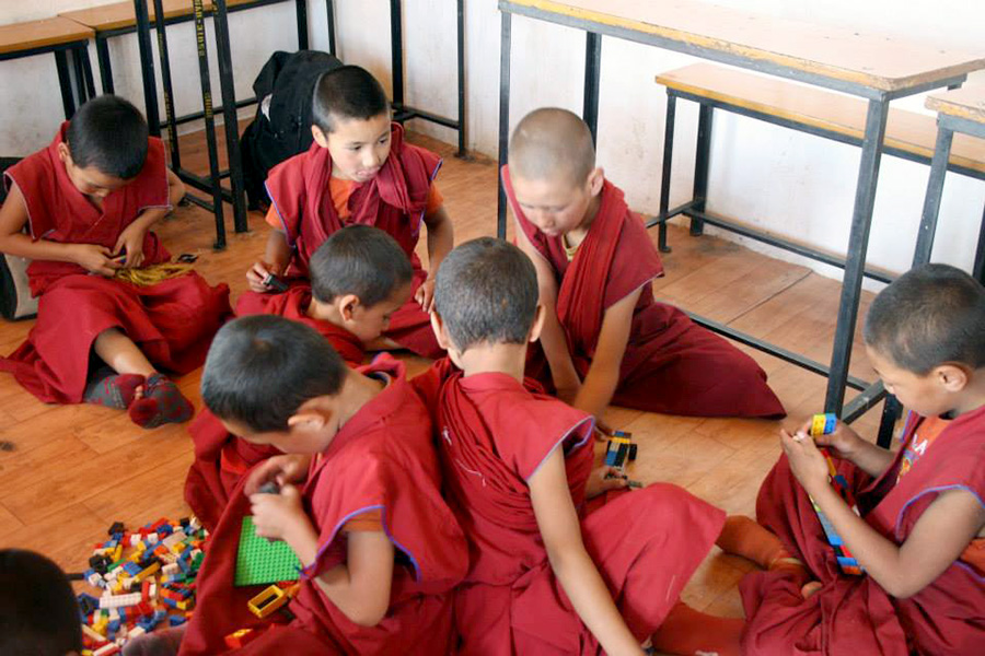 LITTLE MONKS AT THIKSAY GOMPA SCHOOL