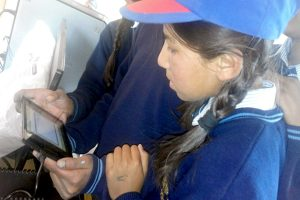 CLASS 8TH STUDENTS <br>USING THE TABLET AT <br>MIDDLE SCHOOL THARUK CHANGTHANG